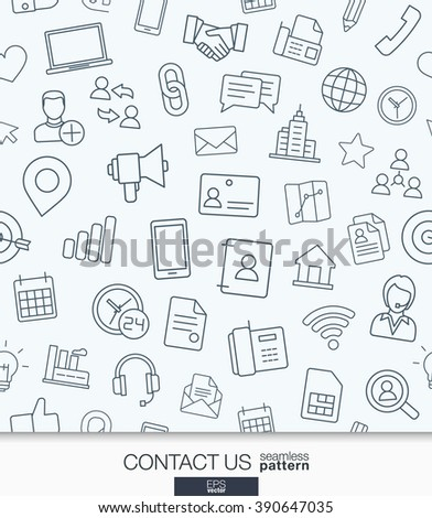Contact us wallpaper. Black and white communication seamless pattern. Tiling textures with thin line web icons set. Vector illustration. Abstract background for mobile app, website, presentation. - stock vector