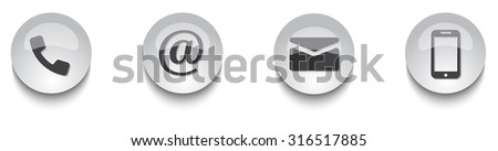 Contact us web button set. The following symbols are included: mail, phone, at, mobile/smartphone isolated on white background.EPS10 Vector illustration. - stock vector