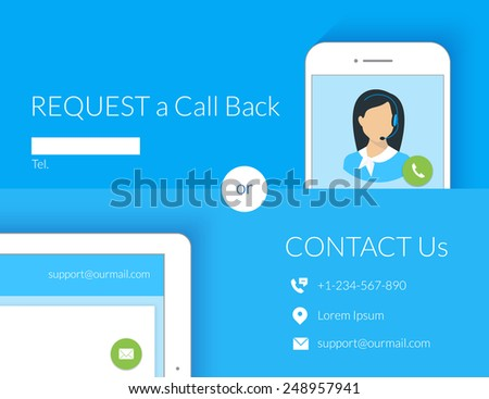Contact us webform design with call center operator, smartphone and tablet pc. Text is outlined. Free font Lato - stock vector