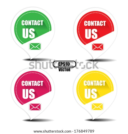 Contact us with envelope colorful stickers, labels, tags, icons and symbols - EPS10, vector. - stock vector