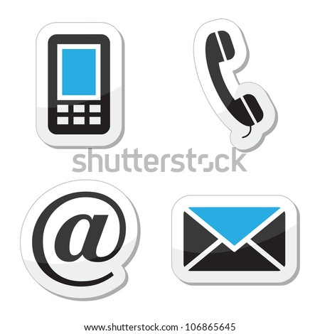 Contact web and internet icons set - stock vector