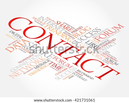 Contact word cloud, business concept - stock vector