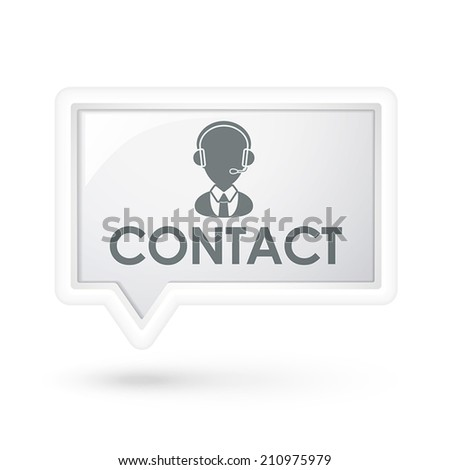 contact word with service icon on a speech bubble over white - stock vector