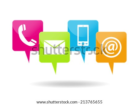 Contacting icons - stock vector
