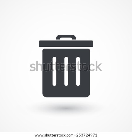 Container button. Trash can icon - stock vector