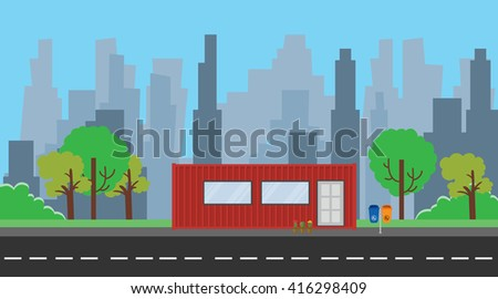 container house illustration with red color and city background tree trees  - stock vector