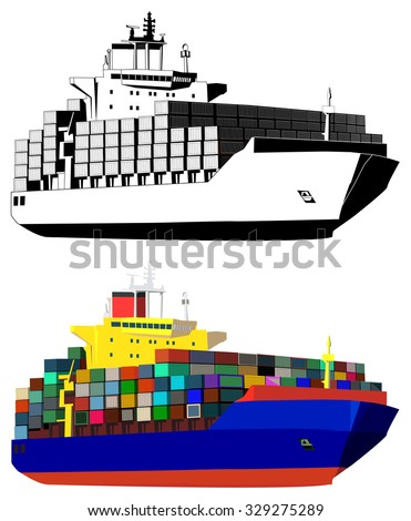 Container ship, colored, black and white, isolated on white, vector illustration