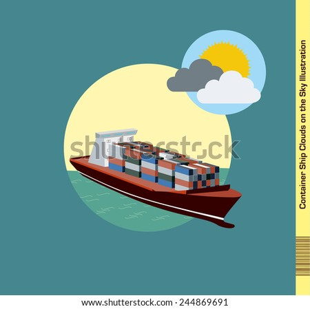 Container Ship Illustration - Clouds on the Sky - stock vector
