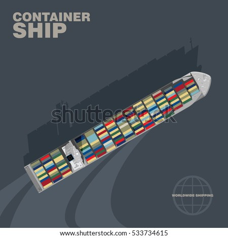 Container ship in the sea cast shadow silhouette, aerial view. Commercial intermodal freight transport, detailed vector illustration of a deck of a merchant vessel, realistic style.