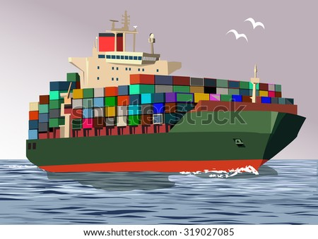 Container ship, vector illustration - stock vector