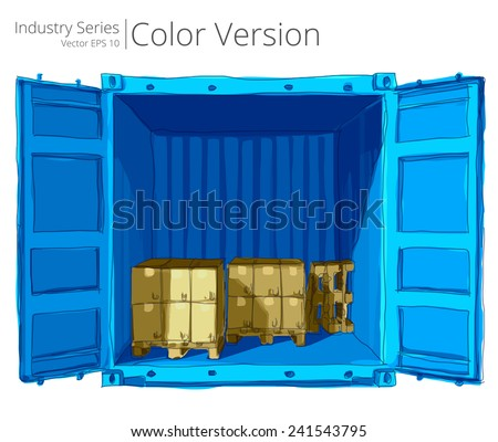 Container with Pallets. Vector illustration of open container with good, Color Series. - stock vector