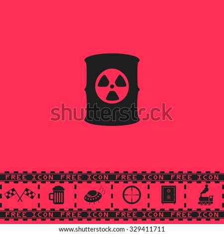 Container with radioactive waste. Black flat vector icon and bonus symbol - Racing flag, Beer mug, Ufo fly, Sniper sight, Safe, Train on pink background - stock vector