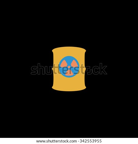 Container with radioactive waste. Color vector icon on black background - stock vector