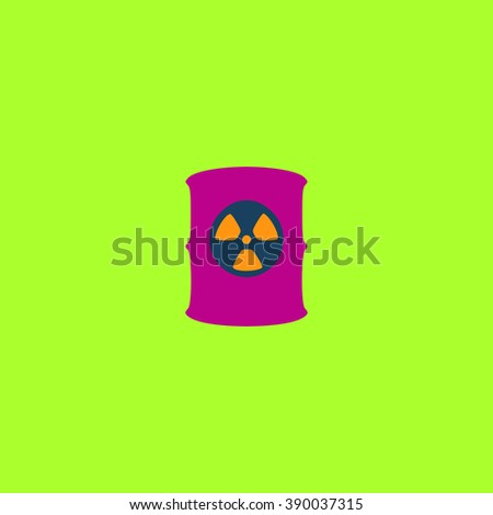 Container with radioactive waste. Flat simple modern illustration pictogram. Collection concept icon for infographic project and logo - stock vector