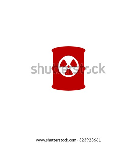 Container with radioactive waste. Red flat icon. Vector illustration symbol - stock vector