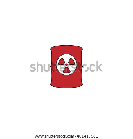 Container with radioactive waste. Red flat simple modern illustration icon with stroke. Collection concept vector pictogram for infographic project and logo - stock vector