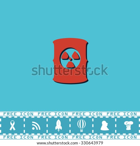 Container with radioactive waste. Red flat symbol with dark shadow and bonus icon. Simple vector illustration pictogram on blue background - stock vector