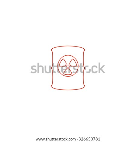 Container with radioactive waste. Red outline vector pictogram on white background. Flat simple icon - stock vector
