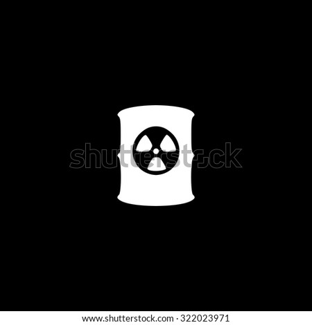 Container with radioactive waste. Simple flat icon. Black and white. Vector illustration - stock vector