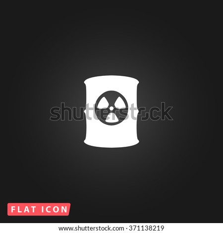 Container with radioactive waste. White flat simple vector icon on black background. Icon JPEG JPG. Icon Picture Image. Icon Graphic Art. Icon EPS AI. Icon Drawing Object. Icon Path UI - stock vector