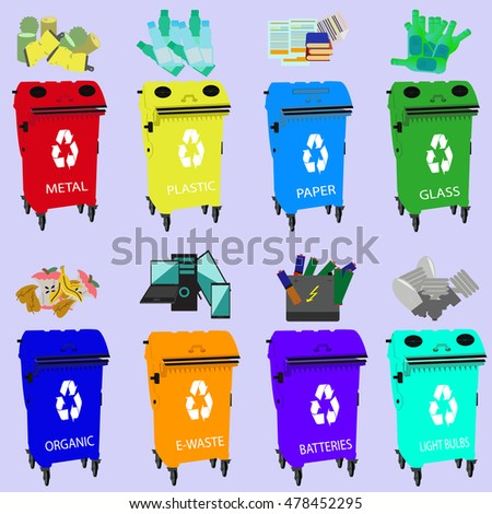 Containers for recycling, waste types segregation recycling organic, batteries, metal plastic, paper, glass, e-waste, light bulbs,bins, purple background.