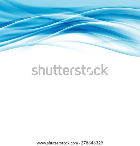 Contemporary abstract blue wave border hi-tech modern background card layout with soft smooth swoosh streak line pattern - beautiful certificate template. Vector illustration - stock vector
