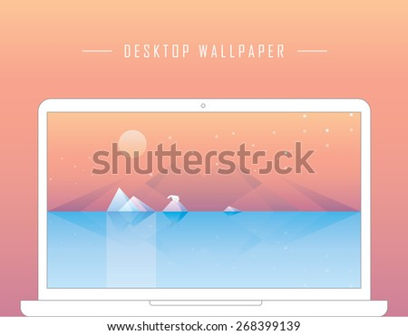 contemporary conceptual geometric desktop wallpaper illustration of global warming with glaciers melting in the ocean with lonely polar bear standing on the iceberg on the moonlight. Low poly style  - stock vector