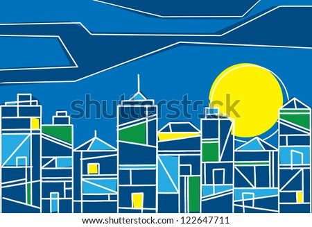 Contemporary design of a city at night with skyscrapers and highrise buildings formed of stylized geometric patterns under a colorful setting sun - stock vector