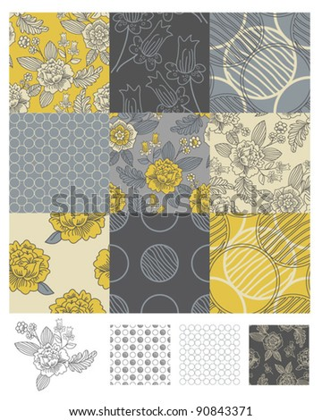 Contemporary Floral Seamless Patterns. Use to print onto fabric or paper craft projects. - stock vector