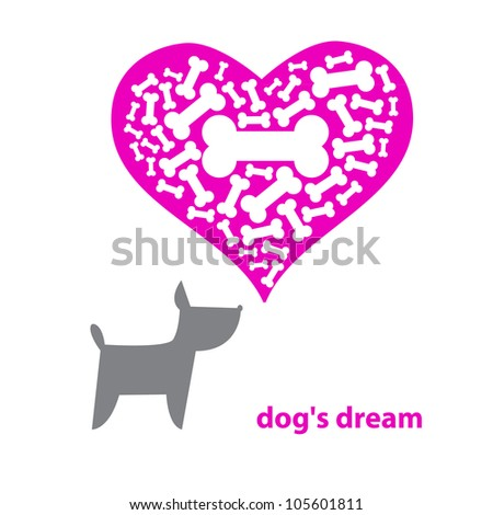 Contemporary illustration - Dog Dreaming About A Bone. Vector. - stock vector