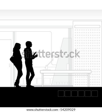 Contemporary illustration of the school interior. In the foreground are students. Near them stands a table and lamp. - stock vector