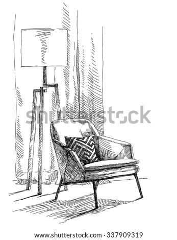Contemporary modern interior hand drawing vector illustration. - stock vector