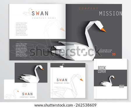 contemporary modern minimalistic black and white corporate identity stationery set with white origami low poly swan logo element- open brochure mockup, business card, book and notebook covers - stock vector