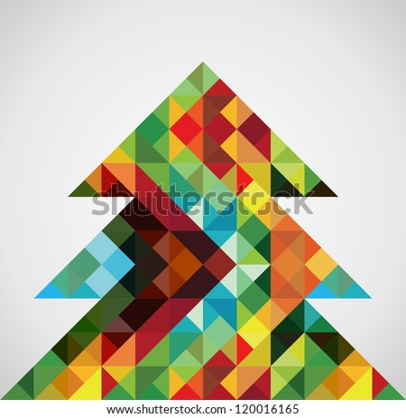 Contemporary multicolored mosaic Christmas pine tree. Vector illustration layered for easy manipulation and custom coloring. - stock vector