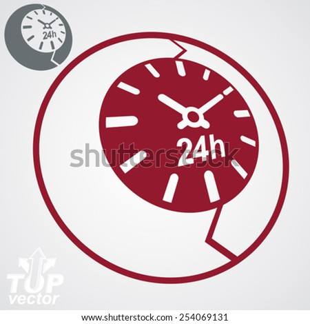 Contemporary red vector stylized 24 hours detailed icon, additional version included. Twenty-four hours a day business 3d conceptual design element time management symbolic object. - stock vector