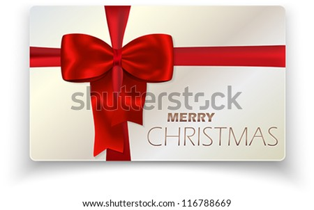 Contemporary solid Merry Christmas card with red bow and red ribbon. Vector illustration. - stock vector