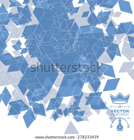 Contemporary tech stylish construction, abstract dimensional background with geometric overlay figures. 3d illusive perspective covering, eps10 vector illustration. Op art backdrop. Mesh backdrop. - stock vector