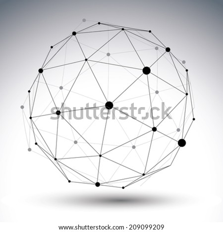 Contemporary techno black and white stylish asymmetric construction, abstract dimensional object with connected lines and dots. - stock vector