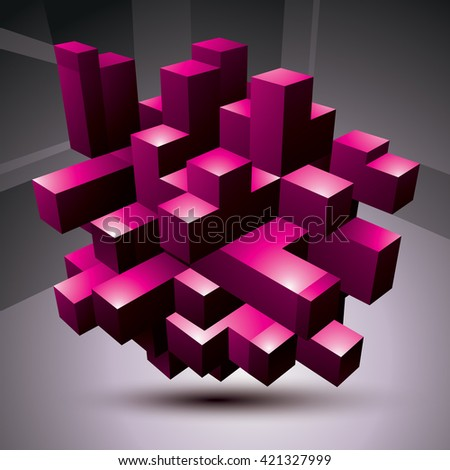 Contemporary technology purple stylish architectural construction, abstract 3d figure. - stock vector