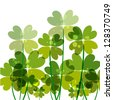 Contemporary transparent clovers isolated. EPS10 file version. This illustration contains transparencies and is layered for easy manipulation and customization. - stock photo
