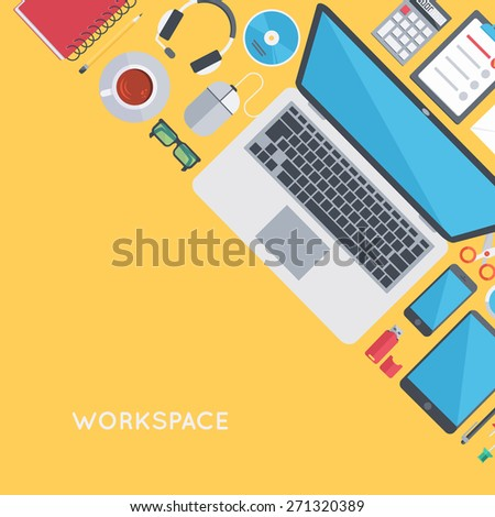 Contemporary workplace background. Personal workspace organization. Modern flat design template.  - stock vector