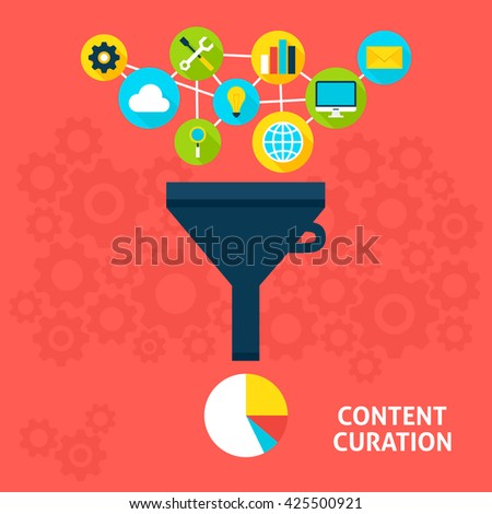 Content Curation Flat Style Concept. Vector illustration of Big Data Filter. Data Analysis. - stock vector