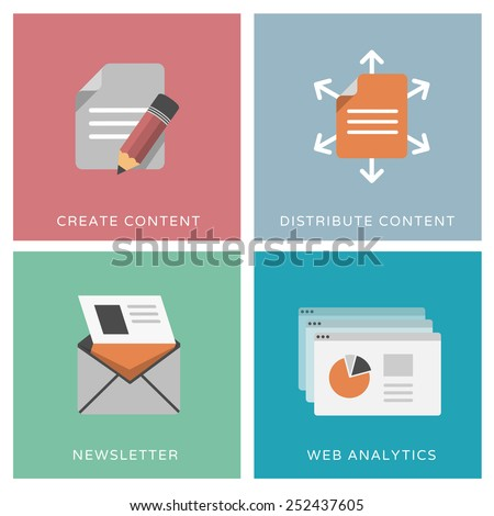 Content distribution, online marketing, web analytics, newsletter - set of flat design icons - stock vector