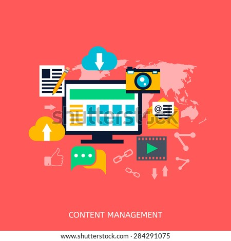 Content management SEO icons. Web development, internet marketing, web design, tags, target strategy, analysis - stock vector