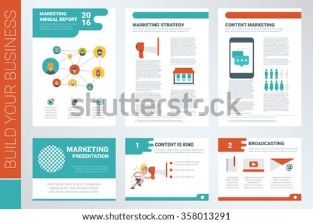 Content marketing A4 sheet cover and presentation template with flat design elements, ideal for company information or infographic report - stock vector