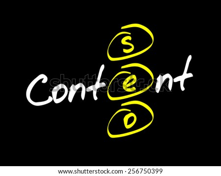 Content SEO (Search Engine Optimization) acronym, business concept - stock vector