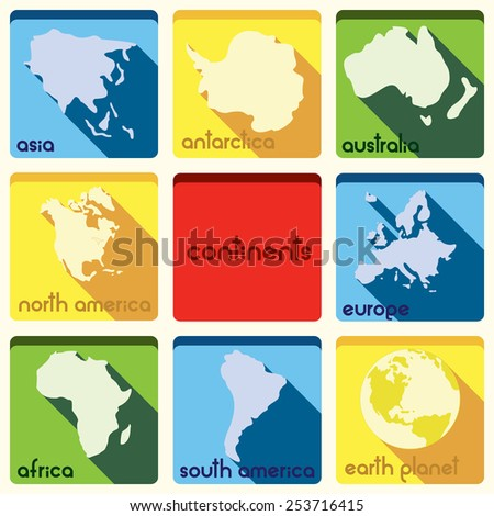 Continent icons - stock vector