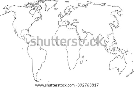 Continent line political world map vector de stock392763817 continent line political world map gumiabroncs Choice Image