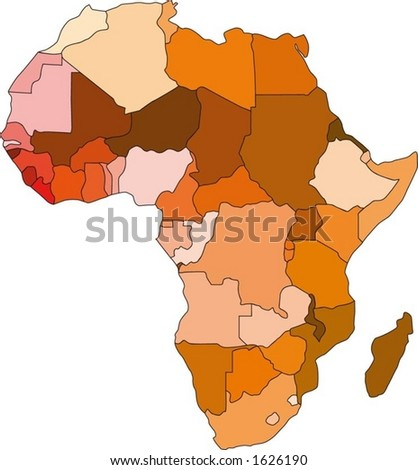 Continent of Africa in colour (vector)