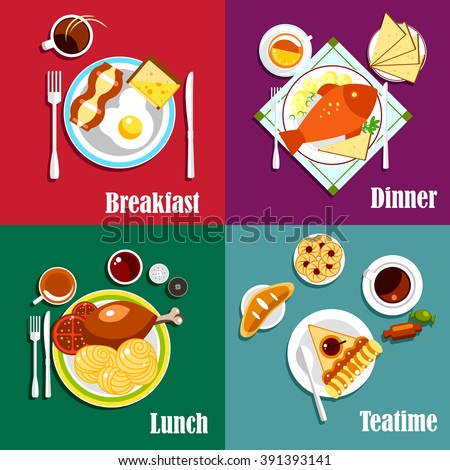 Continental breakfast, lunch and dinner with egg, bacon and coffee, baked fish, boiled potatoes and tea, pasta, fried chicken and cappuccino, fruit pie and bun, cookies and candies - stock vector